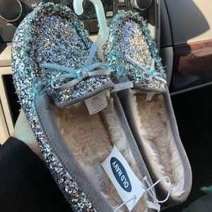 Faux fur -lined glitter moccasins NWT